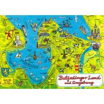 Butjadinger Land - Map - Postkarte