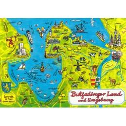 Butjadinger Land - Map - Postkarte
