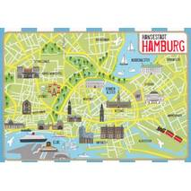 Hamburg - Map - Postkarte