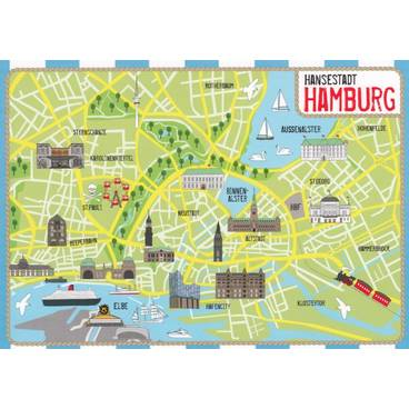 Viewcards Maps Hamburg Map Postcard Hartung