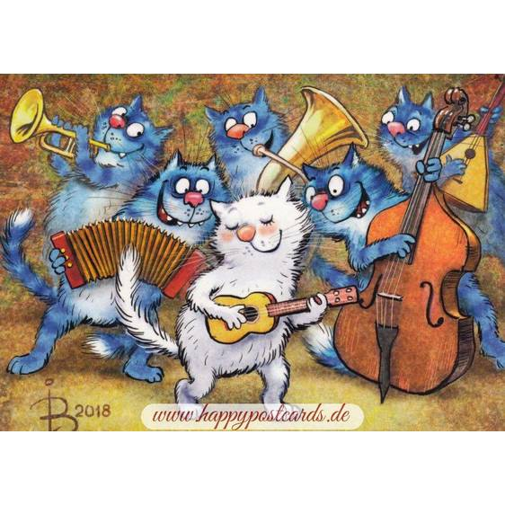 Cats playing Jazz - Blue Cats - Postcard