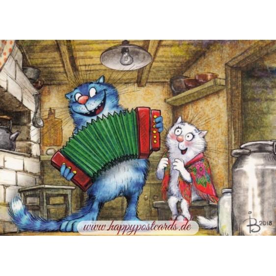Kalinka-Malinka - Blue Cats - Postcard