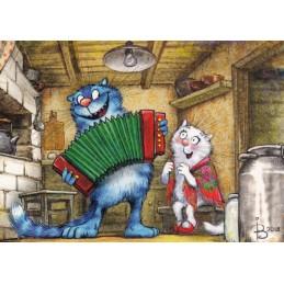 Kalinka-Malinka - Blaue Katzen - Postkarte