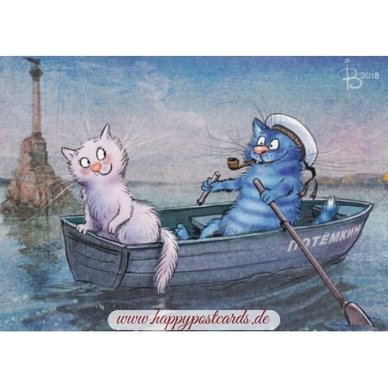 Erstes Date - Blaue Katzen - Postkarte