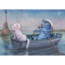 First Date - Blue Cats - Postcard