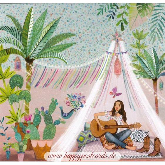 Frau mit Gitarre - Mila Marquis Postkarte