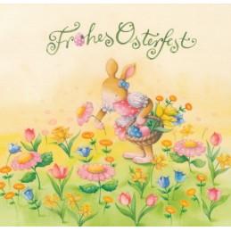 Frohes Osterfest - Hase mit Blumen - Nina Chen Postkarte