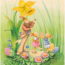 Bunnies with Daffodils - Nina Chen Postcard
