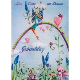 Zum Geburtstag - Frau auf Regenbogen - Mila Marquis Postkarte