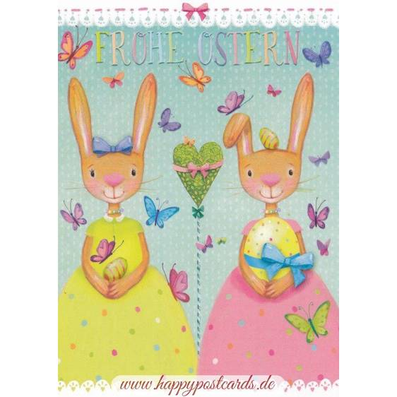 Frohe Ostern - Two bunnies - Mila Marquis Postcard