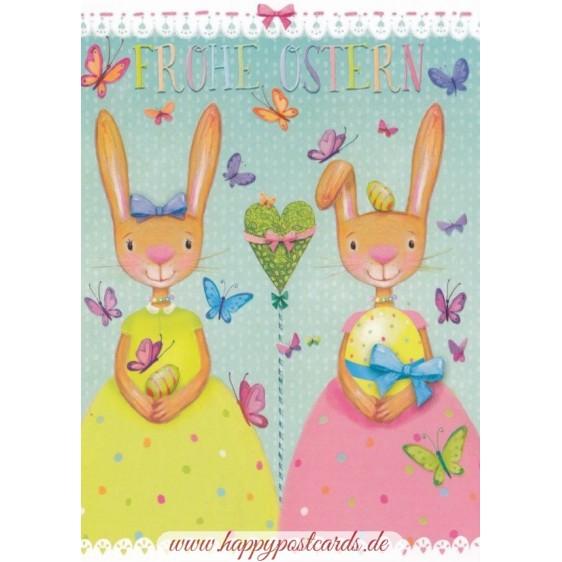Frohe Ostern - Zwei Hasen - Mila Marquis Postkarte