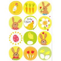 Frohe Ostern - Bunnies, eggs, poults - Carola Pabst Postcard
