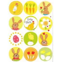 Frohe Ostern - Hasen, Eier, Küken - Carola Pabst Postkarte