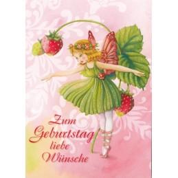 Zum Geburtstag - Elfe mit Erdbeeren - Nina Chen Postkarte