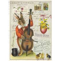 Happy Easter - Bunny with a contrabass - Tausendschön - Postcard