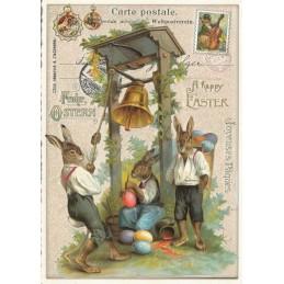 Happy Easter - Hasen mit Glocke - Tausendschön - Osterkarte