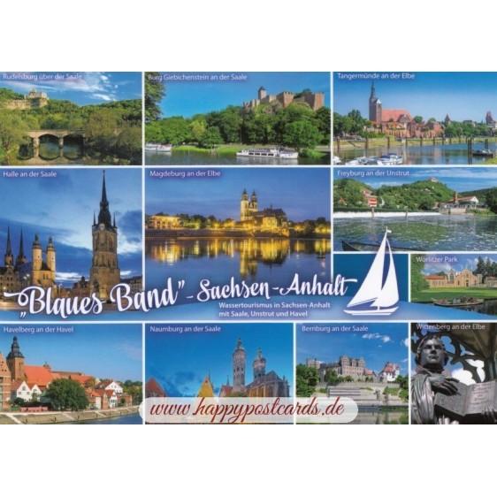 """""""Blaues Band"""" Sachsen-Anhalt - Ansichtskarte"""