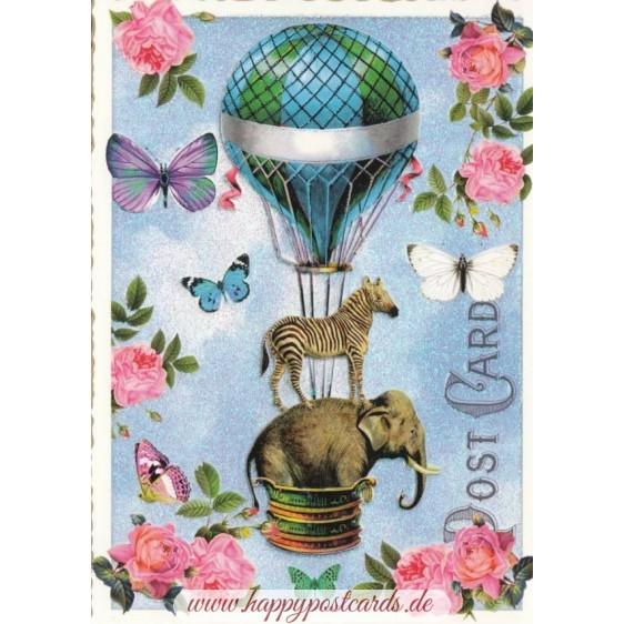 Elefant und Zebra - Tausendschön - Postkarte