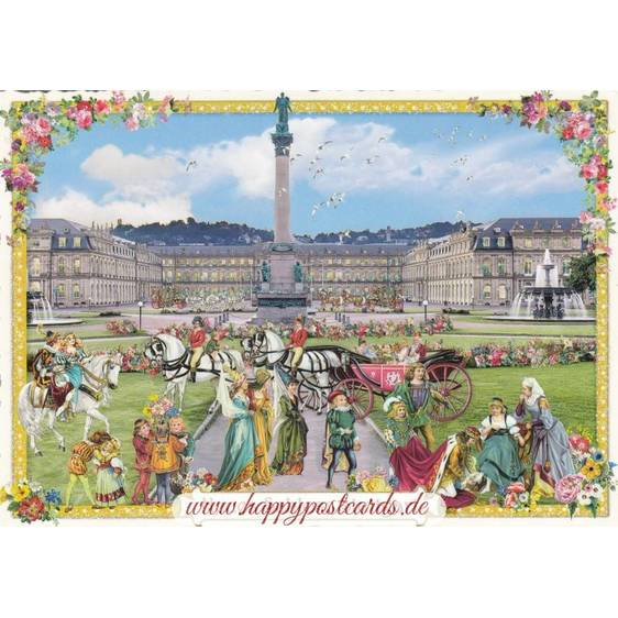 Stuttgart - Neues Schloss - Tausendschön - Postkarte
