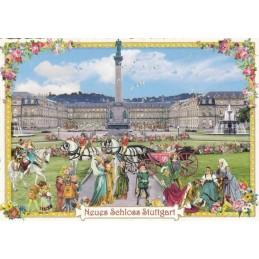 Stuttgart - New Castle - Tausendschön - Postcard