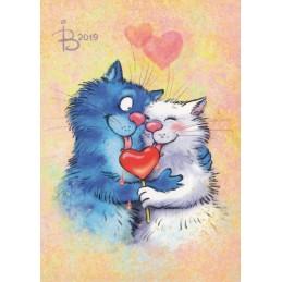 Amore - Blaue Katzen - Postkarte