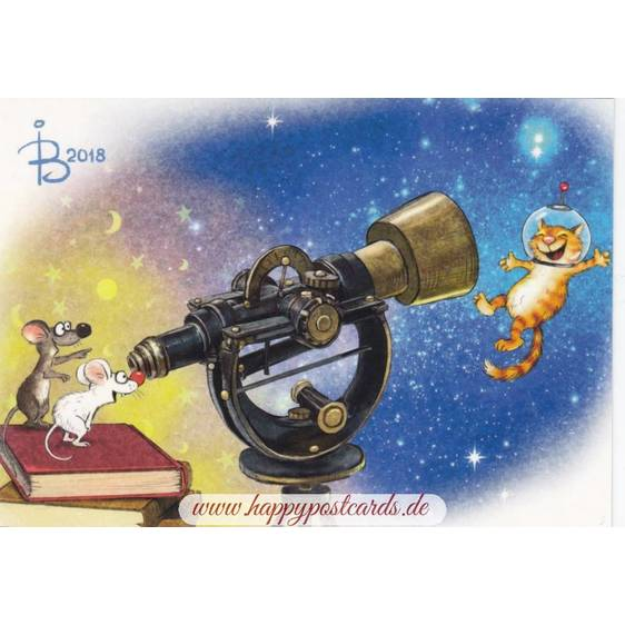 In Space - Blue Cats - Postcard