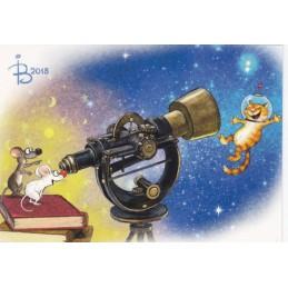 Im Weltall - Blaue Katzen - Postkarte