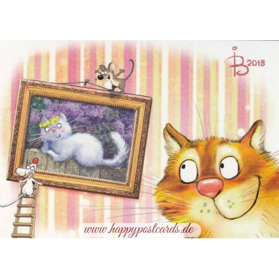 Portrait - Blue Cats - Postcard