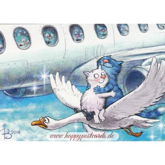Cloud Nine - Blue Cats - Postcard