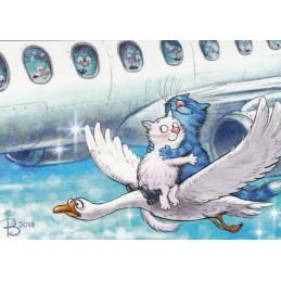 Im siebten Himmel - Blaue Katzen - Postkarte