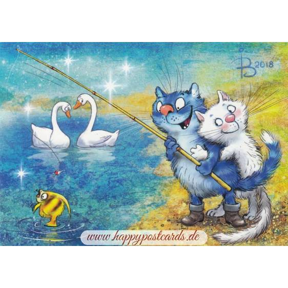 Anglerglück - Blaue Katzen - Postkarte