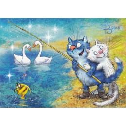 Happy Fishing - Blue Cats - Postcard