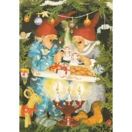 65 - Old Ladies celebrating Christmas - Postcard