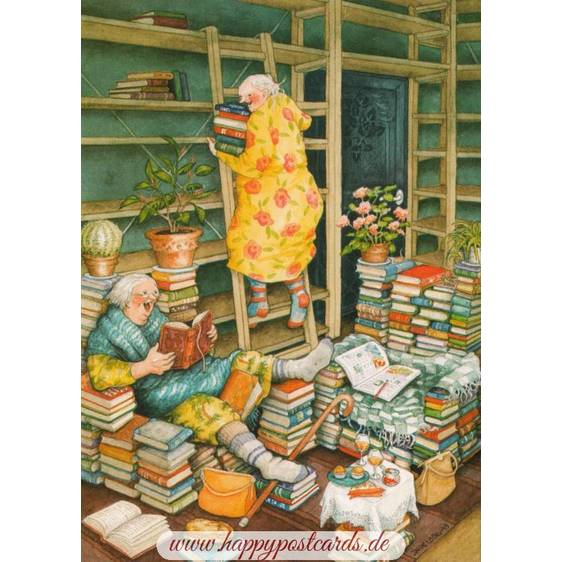 66 - Frauen lesen Bücher - Löök Postkarte