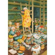 66 - Old Ladies reading Books - Postcard