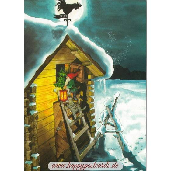 221 - Dwarf with a cat on a ladder - Löök  Postcard
