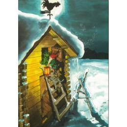 221 - Zwerg mit Katze auf Leiter - Löök Postkarte