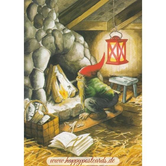 226 - Dwarf makes fire - Löök  Postcard