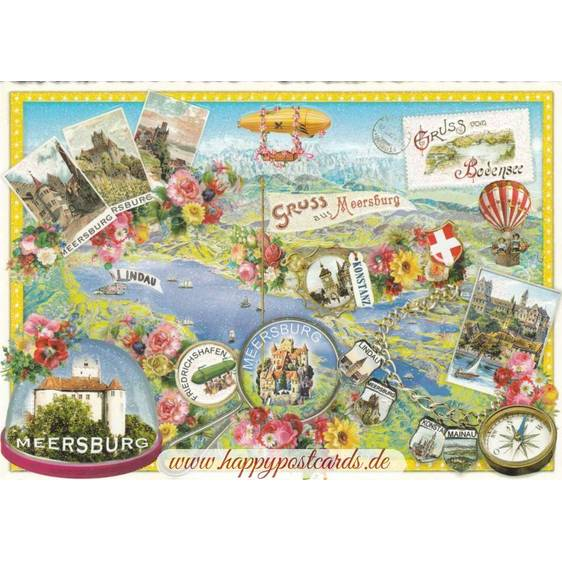 Bodensee - Meersburg - Tausendschön - Postkarte
