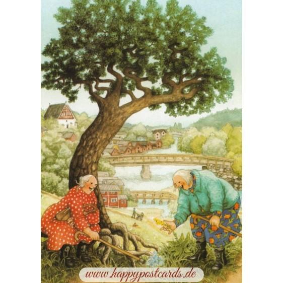 67 - Old Ladies finding flowers - Postcard