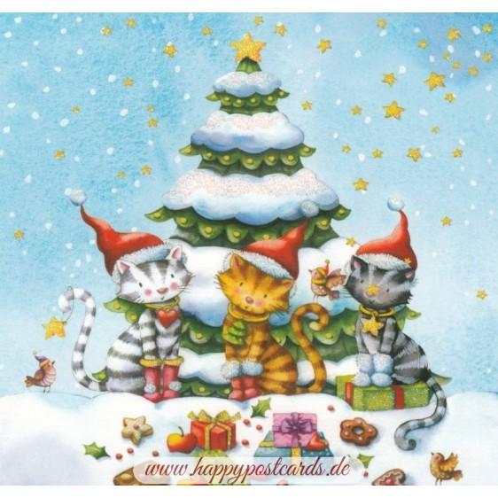 Christmascats - Nina Chen Postcard