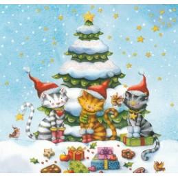 Weihnachtskatzen - Nina Chen Postkarte