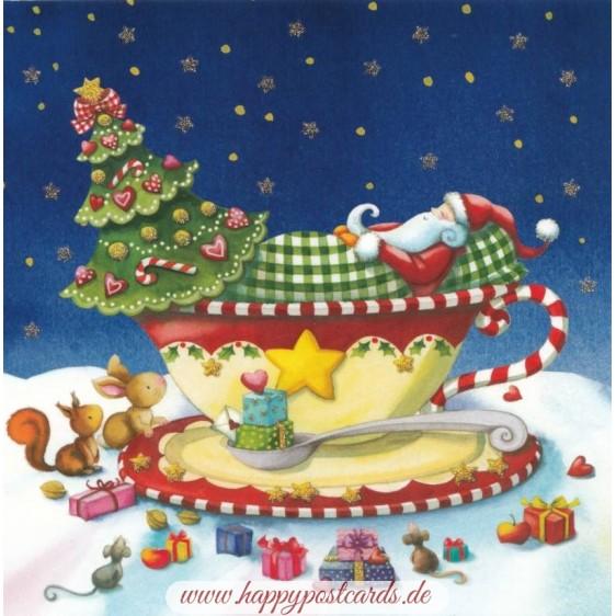 Santa Claus is sleeping in a cup - Nina Chen Postcard