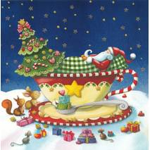 Santa Claus is sleeping in a cup - Nina Chen Postcard