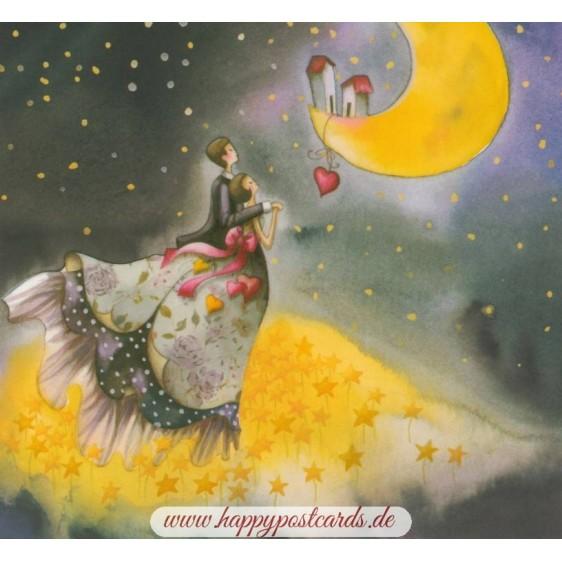 Paar blickt auf Mond - Nina Chen Postkarte