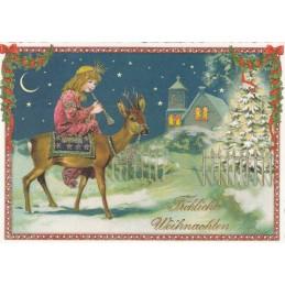 Fröhliche Weihnachten - Mädchen mit Flöte - Tausendschön - Weihnachtskarte