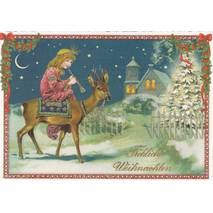 Merry Christmas - Girl with flute - Tausendschön - Postcard
