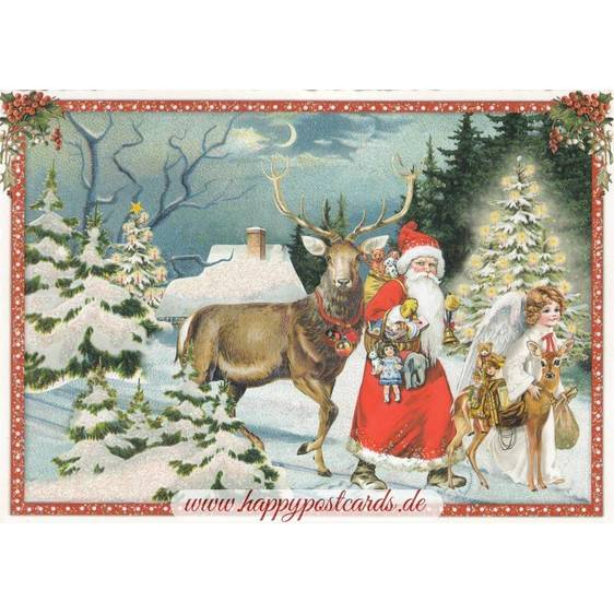 Santa Claus with a deer - Tausendschön - Postcard