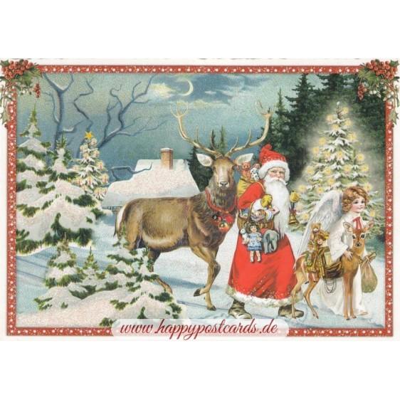 Weihnachtsmann mit Hirsch - Tausendschön - Weihnachtskarte
