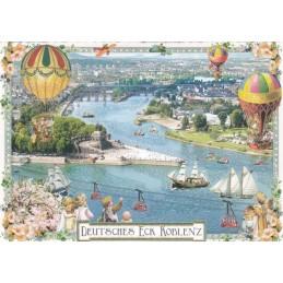 Koblenz - Deutsches Eck - Tausendschön - Postcard